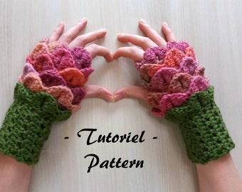 """Crochet """"Adelaide"""" Flower Fingerless Mittens Pattern"""