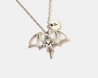 Bat Necklace, Bat Pendant, Antique Silver Necklace, Gothic Necklace, Goth Jewelry, Bat Jewelry, Personalized Initial (A16)