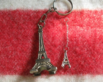 Metal Eiffel Tower Paris France  keychain and Eiffel Tower Charms Antique Silver Tone free shipping in the u s a