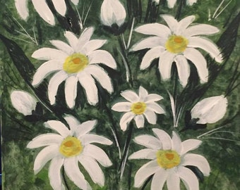 Original Watercolor and acrylic painting on canvas panel. Title: Daisy