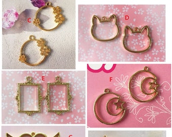 6 pcs Open bezel,Fan open bezel,open back bezel,cat open bezel,sakura open bezel,resin charm,gold charm,gold bezel