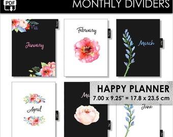 Monthly Happy Planner Dividers Inserts 12 Month Black Tabs Watercolor Flowers Minimal Elegant Year Arc Planner Pdf Download PRINTABLE