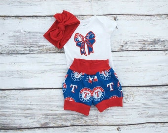 Rangers girl outfit,baby baseball outfit,girl baseball outfit,baby summer outfit,baby baseball shirt,Texas Rangers outfit,baby girl,toddler