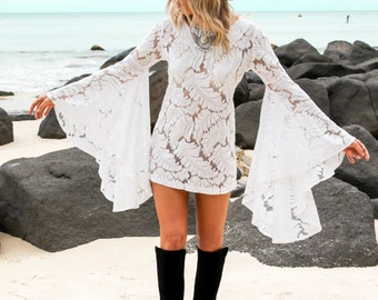 White Lace Boho Dress with Bell Sleeves | Bohemian Style Dress | White Boho Dress