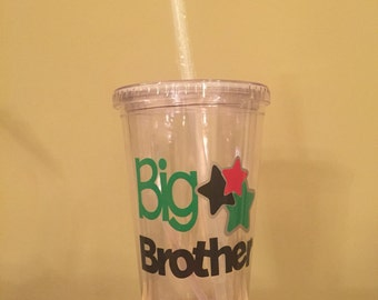 Big Brother 16 oz clear tumbler - personalized