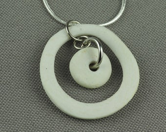 Porcelain and silver necklace