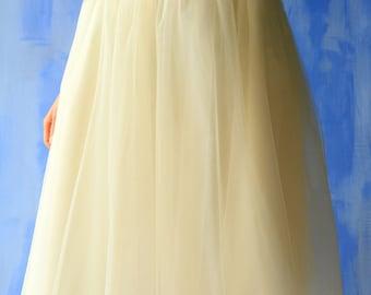 Cream White Tulle Skirt - Midi Tutu skirt - Midi Tulle Skirt - Creamy White Skirt - Creamy beige skirt