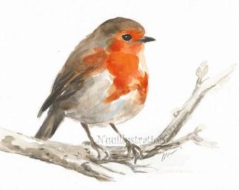 ORIGINAL Watercolor Bird Robin Nursery Art Illustration Animal Hand Painted Small Wall Decor 6x8