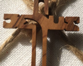 Wooden Jesus Cross Necklace pendant-chain not included