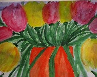 Flowers watercolor beautiful tulips 30 x 40 cm unique
