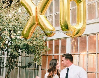 "Giant XO Balloons - 40"" Inch Gold/Silver Mylar Balloons in Letters X-O - Metallic - Wedding Decorations, Wedding Photoshoot, Engagement"