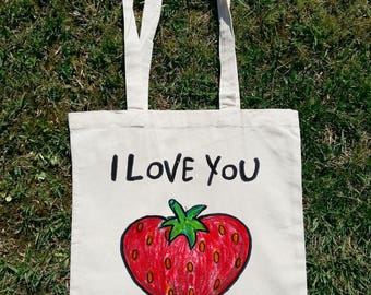I Love You Very Much, Love Bag, Summer Bag, Beach Bag, Tote Bag, Shopping Bag, Shoulder Bag, Woman Bag, Unique Bag, Lady Bag