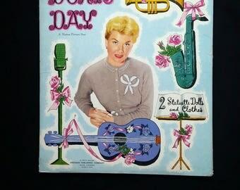 Vintage Doris Day A Motion Picture Star Paper Dolls-2 Statuette Dolls and Clothes-Whitman-1956-Uncut Paper Dolls