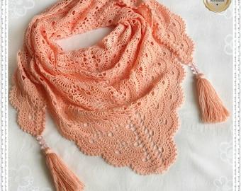 "Crochet hand made mini-shawl, crochet scarf shawl, shawl handmade, cotton crochet shawl, crochet bactus, bactus ""Luscious Apricot"""