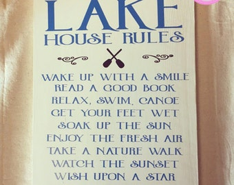 Wood Sign, Lake House Rules, Lake House Sign, Wooden Sign, Wood Lake Sign, Wood lake House Sign, Home decor, Wood Decor