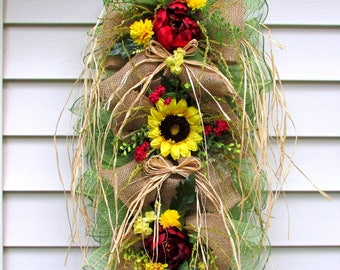 Spring wreaths for front door, Summer Door swag, burlap swag, farmhouse decor, teardrop swag, sunflower wreath, country home decor, rustic