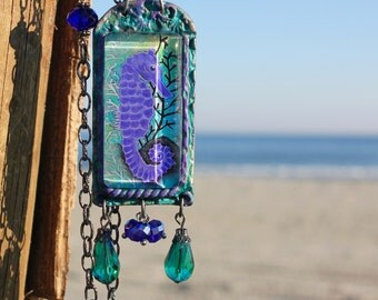 Seahorse Pendant Beaded Necklace, Seahorse Jewelry, Ocean Necklace, Long Pendant Necklace, Colorful Necklace, Art To Wear, Gift for Women