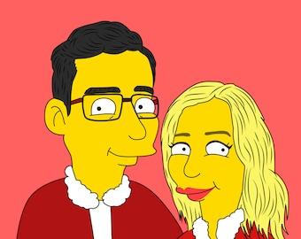 Custom Portrait, Digital Portrait, Valentines Gift, Valentines Day, Caricature Portrait, Custom Caricature, For Couple, For Him, For Her