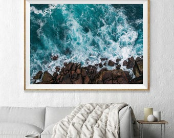 Framed Aerial Ocean Photography, Large Wall Art Decor, Fine Art Photography, Art Prints, Beach, Aqua