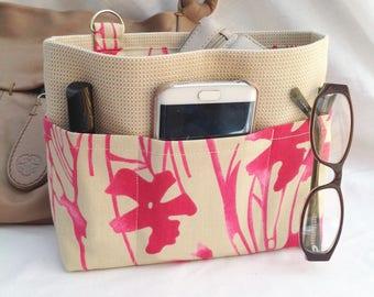 Handbag insert - Bag organiser - Handbag Caddy - Purse insert -  'Fuchsia Shock' Print