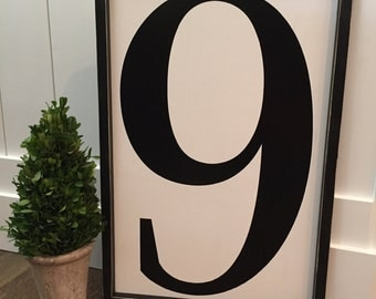 Large wood 24x16 number sign | framed number sign | fixer upper number sign | vintage number sign | number  sign | alphabet sign | monogram
