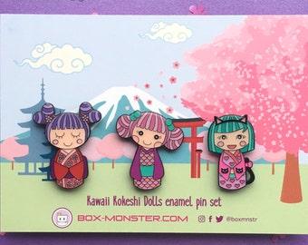 Cute Kawaii Kokeshi Dolls Enamel Pin set