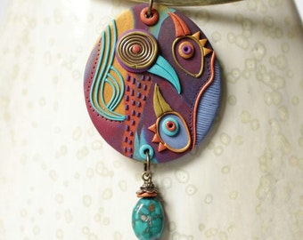 Necklace pendant, resin, unique, exotic colors, arts-first, organic, modern designs, art to wear, ethnic