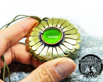 Copper pendant Flower pendant Steampunk pendant Glass pendant Magic pendant For women Best gift For her Vintage jewelry Gift for girlfriend