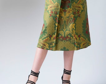 Women's skirt, Baroque tapestry fabric, pleated skirt, ladies A-line skirt, green, gold, red, women's fashion, skirt