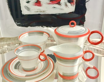 "Very rare Shelley Art Deco Tea for One set, 1933 ""Bands and Lines"", fine bone china"