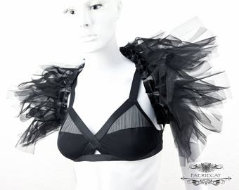 black feather shrug vegan