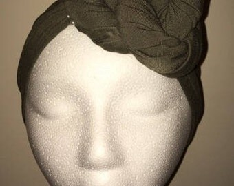 Pre-Tied! Pre-Wrapped! Pre-Fitted Olive Green Head Wrap