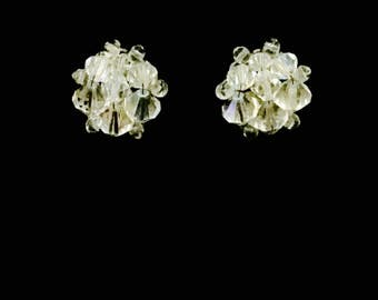 50's Aurora Borealis Glass Cluster Earrings   VG2481