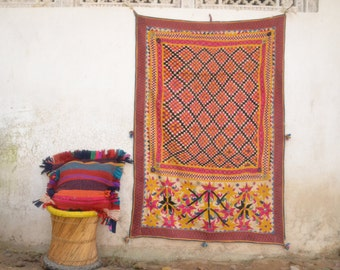 Rare vintage wall hanging, Embroidery art, bohemian wall decor, Pink, Rajkot, Banjara, Afghani, Gypsy ornament, pompom, colorful, decorative