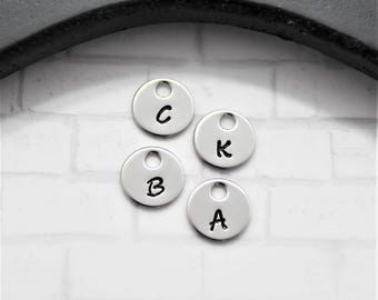 """Initial Disc Add On - 3/8"""" Stainless Steel Disc - Handstamped Initial"""