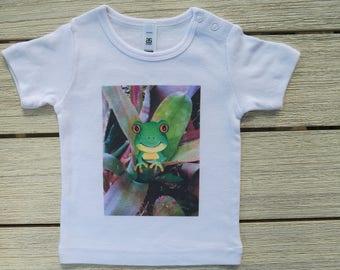 Frog in Bromeliad Babies T shirt, digitally printed, frog t shirt, babies t shirt, Original art t shirt, babies frog t shirt