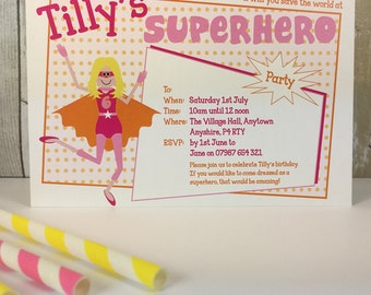 Pack of 16 Supergirl Personalised Party Invites or Thank You Cards