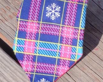 Pink Snowflake Plaid, Christmas Necktie, Holiday Necktie, Pink and Blue Necktie, Snowflake Necktie, Christmas Plaid Necktie