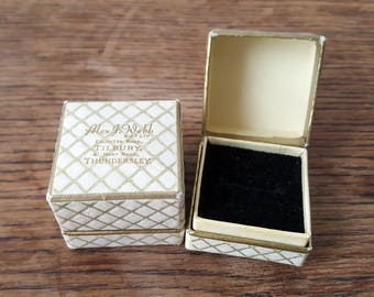 "Vintage White Cardboard Ring Box - ""Alex J. Webb, Thundersley"" (Circa 1950)"