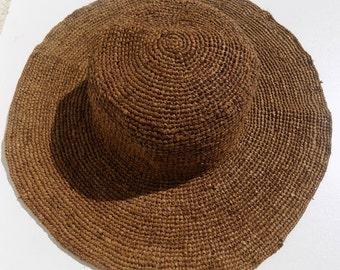 Hat Sun, woman, wide-brimmed hat, wide brim, to natural raffia hat, very flexible hat, 53/54 cm, 55 56 cm, foldable hat, handmade
