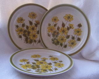 Set of Three Vintage Bread and Butter Plates in the Spring Bouquet Pattern