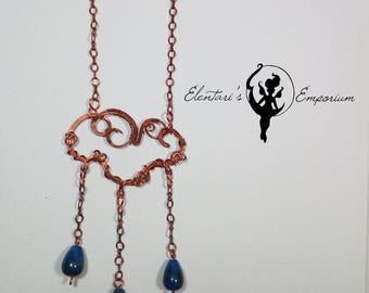 Rain Cloud necklace, Copper Cloud pendand, Lapislazzuli drops