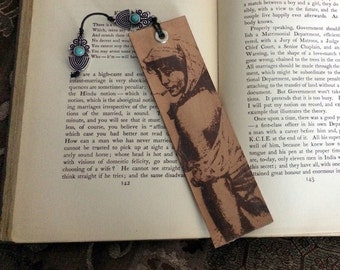 Spanish Woman Leather Bookmark with Beads