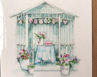 Summerhouse Card taken from an Original Watercolour / Notelets / Birthday Cards / Thank you Cards / Blank Cards