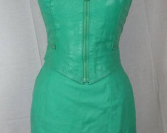 Vintage 80s Wilsons Leather Halter top and Skirt Set, Sea Foam Green with Black