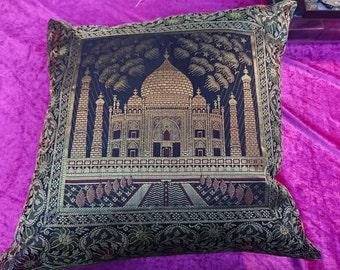 Indian Silk 18 inch Black With gold Taj Mahal