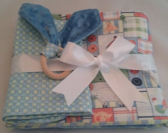Handmade Quilt with 2 burp clothes and organic teething ring
