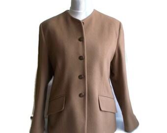 Vintage Cashmere Jacket / Camel color jacket / Cashmere Wool jacket / Cashmere blazer / Womens  cashmere jacket / Size 16
