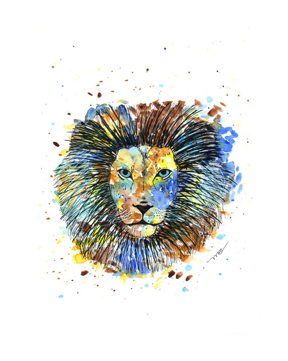 Lion Watercolor Print - Lion Art - Yellow Blue Brown Lion Modern Abstract Print Decor