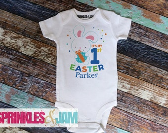 First Easter Outfit, Boys 1st Easter Onesie, First Easter Outfit Boy, Bunny 1st Easter, Baby Boy Easter Onesie